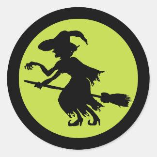 Retro Witch on Broom Silhouette Classic Round Sticker