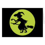 Retro Witch on Broom Silhouette Greeting Card