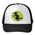 Retro Witch on Broom Silhouette Hat