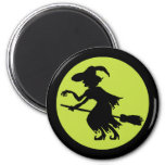 Retro Witch on Broom Silhouette Refrigerator Magnets