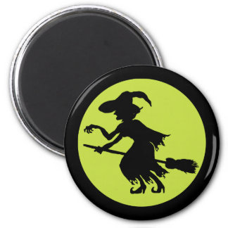 Retro Witch on Broom Silhouette Magnet