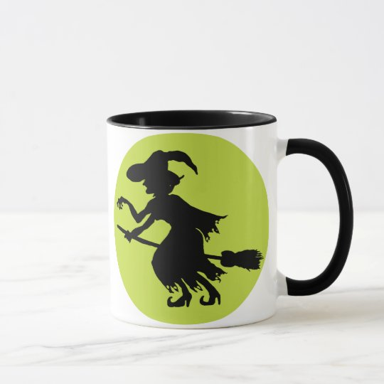 Retro Witch on Broom Silhouette Mug
