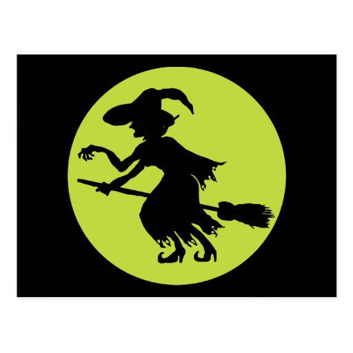 Retro Witch on Broom Silhouette Postcard