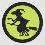 Retro Witch on Broom Silhouette Stickers