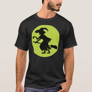 Retro Witch on Broom Silhouette T-Shirt
