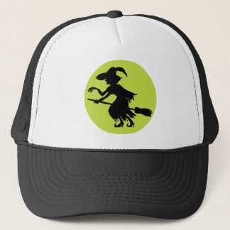 Retro Witch on Broom Silhouette Trucker Hat