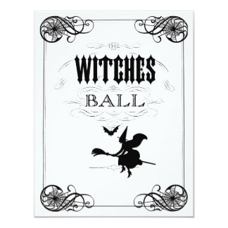 Retro Witch on Broomstick  Witches Ball Halloween Custom Invite