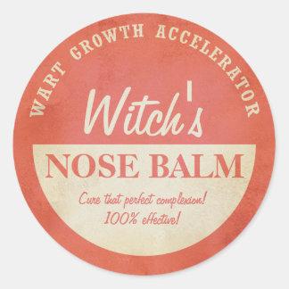 Retro witch wart nose balm Halloween sticker