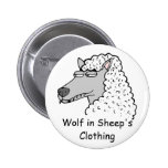 Retro Wolf in Sheep's Clothing Button