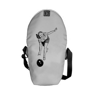 Retro Woman Bowling Courier Bags