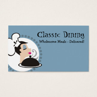 Retro woman chef with steaming dome platter business card