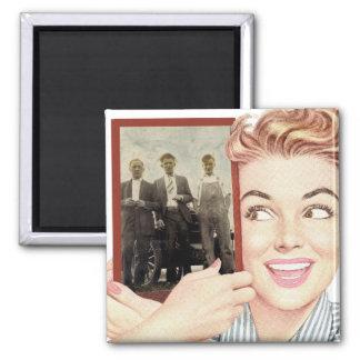 Retro Woman Holding a Photo Magnet