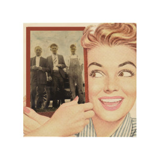 Retro Woman Holding a Photo Wood Wall Art