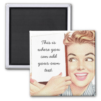Retro Woman Holding a Sign 2 Inch Square Magnet