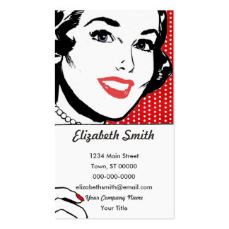 Retro Woman Holding a Sign Business Card