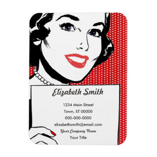 Retro Woman Holding a Sign Rectangular Photo Magnet