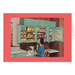 Retro Woman in Kitchen Greeting Card