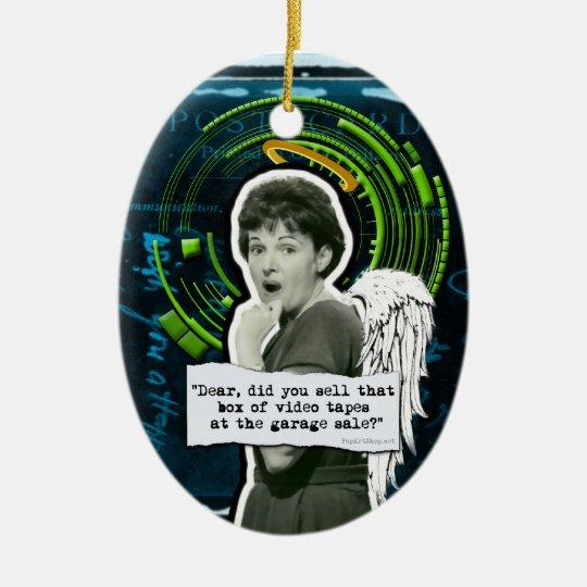 Retro Woman Lost Home Movies Ceramic Ornament