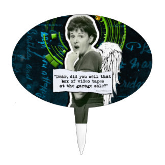 Retro Woman Lost Home Movies Oval Cake Topper