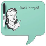 Retro Woman Memo Dry Erase Board<br><div class='desc'>Whimsical dry erase board done in mint green with retro black and white artwork of a women pointing her finger.  Don&#39;t Forget!,  in black text,  at the top,  is customizable to read what you want.  Great memo board for home or work and makes a neat gift idea.</div>