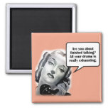 Retro Woman on Phone, Drama 2 Inch Square Magnet
