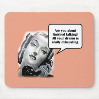 Retro Woman on Phone, Drama Mouse Pad