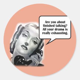 Retro Woman on Phone, Drama Round Stickers