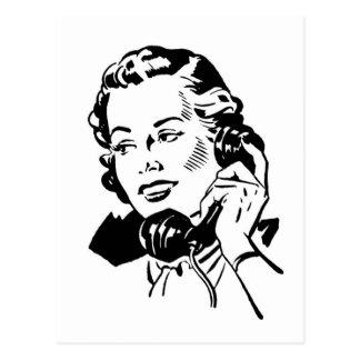 Retro Woman on Phone Postcard