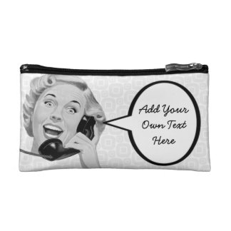 Retro Woman on the Phone Makeup Bag
