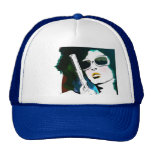 retro woman pistol mesh hat