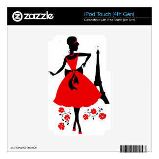 Retro woman red black silhouette with Eiffel Tower iPod Touch 4G Decal