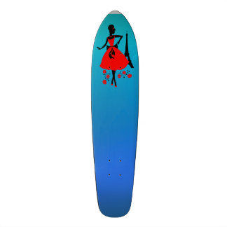 Retro woman red black silhouette with Eiffel Tower Skateboard