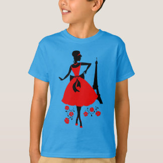Retro woman red black silhouette with Eiffel Tower T-Shirt