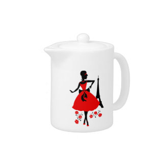 Retro woman red black silhouette with Eiffel Tower Teapot