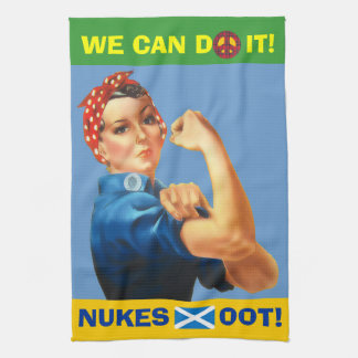 Retro Woman Scottish Independence Nukes Oot Towel