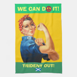 Retro Woman Scottish Independence Trident T Towel