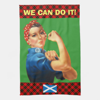 Retro Woman Scottish Independence Wallace Tartan Kitchen Towels