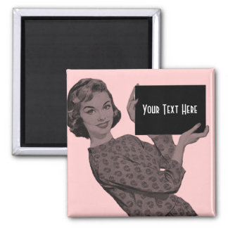 Retro Woman with a Clipboard 2 Inch Square Magnet