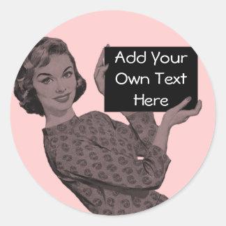 Retro Woman With a Clipboard Classic Round Sticker