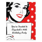 Retro Woman with a Sign Birthday Card