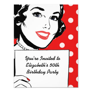 Retro Woman with a Sign Birthday 4.25x5.5 Paper Invitation Card