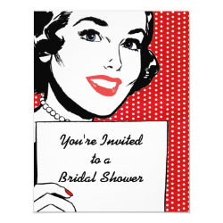 Retro Woman with a Sign Bridal Shower Invitation