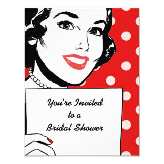 Retro Woman with a Sign Bridal Shower 4.25x5.5 Paper Invitation Card