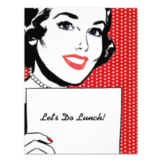 Retro Woman with a Sign Luncheon 4.25x5.5 Paper Invitation Card