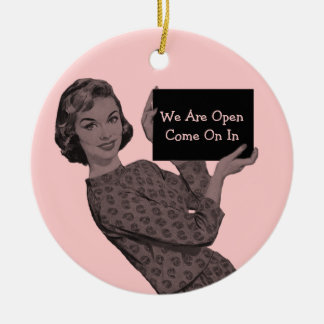 Retro Woman with Clipboard Door Hanger Ornament