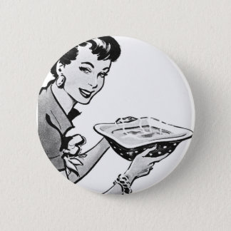 Retro Woman With Home Cooked Meal Button