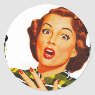 Retro Woman With Surprised Expression Classic Round Sticker