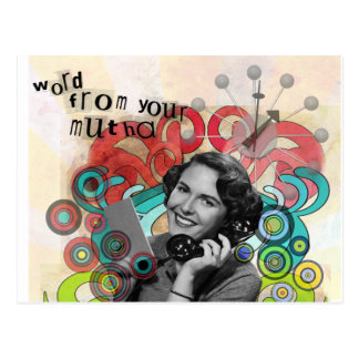 Retro Woman Word From Your Mother Postcard
