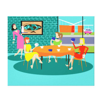 Retro Women's Card Game Stretched Canvas Print