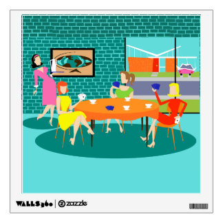 Retro Women's Card Game Wall Decal